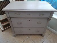 French shabby chic chest of drawers. Real solid piece of furniture with two large deep drawers