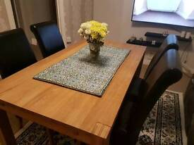 Solid wood dining table & 4 leather chairs