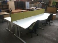 4 X PERSON WHITE OFFICE BENCH DESK & DIVIDERS, CALL CENTRE, OR 6,8,10,12 etc