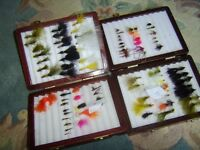 Fly Fishing Flies in 2 Wood Fly Boxes.