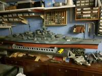 Scale model battleships Rodney and Tirpits