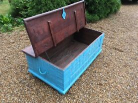 Blue Painted Storage Trunk / Coffee Table
