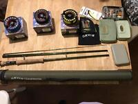 Orvis salt /trout fly rod and reel set with flies