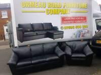 3+1 black leather sofa