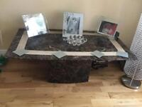 Marble inlay coffee table