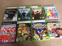 Mixture of Xbox 360, PS2 and PS3 games with sensor and microphone