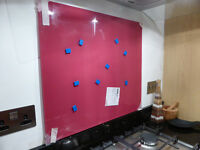 Glass kitchen / bathroom splashback - deep pink / red