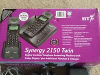 Digital cordless telephone answering machine, twin handset