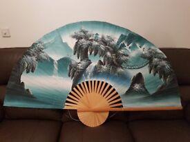 Beautiful Oriental hand-painted fan
