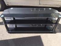 Extra large black glass tv stand