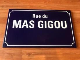 Original Limoges French Street Sign 'Rue du Mas Gigou'