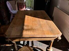 Antique oak dining table and 6 chairs