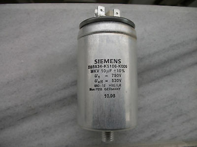 Nos Siemens 10uf 750v Mkv Mkp In Oil B25834-k5106-k009hi End Capacitor