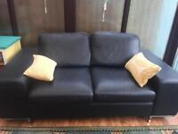 Contemporary Real Leather Black Sofa