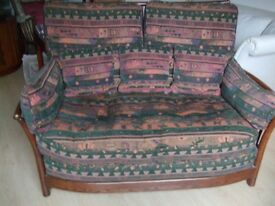 ERCOL Solid Oak Settee (incl.2 mtrs spare fabric)
