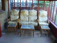 Conservatory/Patio Cane Furniture Set, including Sofa, 2 Chairs and 3 Glass top Tables