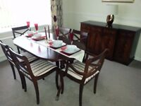 DINING ROOM COMPLETE FURNITURE SET - OVAL TABLE WITH 6 CHAIRS, SIDEBOARD, CORNER UNIT – REDUCED