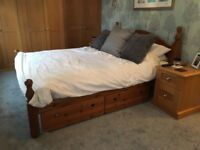 Beautiful king size solid pine bed with 2 large storage drawers - no mattress - as is or paint it!