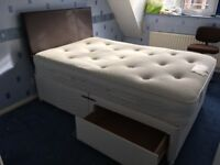 Small double bed, Orthopaedic Mattess and brown leather headboard