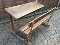 Old Vintage Double School Desk Delivery Possible