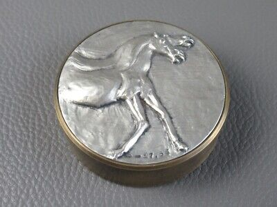 Bruno Carina Sculpture Paperweight Brass with Horse Silver 800