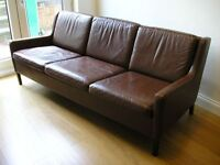 Danish Mogensen 3-seat chocolate brown leather sofa in excellent condition