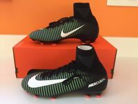 Brand new - Jr mercurial superfly v fg black/white/electric green sock football boots Size 4.5 UK