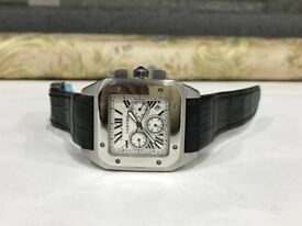 BrandNew Cartier Santos Silver 100 automatic sweeping movement