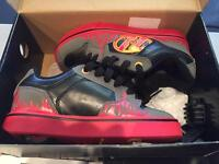 Heelys U.K. Size 1 black, grey and red flames as new