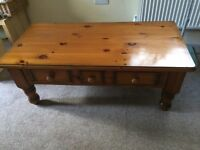 Pine coffee table with 3 draws.