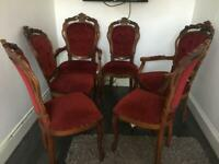 6 vintage Italian red dining chairs