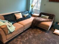 Habitat sofa moduler 3 part suede beige cost £850