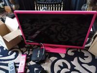 "Logik 24"" tv/dvd player (pink) + android tv box"