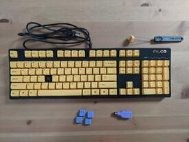 Mechanical Keyboard - Filco Majestouch-2, NKR, Tactile Action, USA, Yellow Keys Keyboard