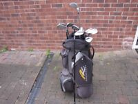 founders graphite left handed irons 3 to sw + offset titanium driver and powercaddy bag
