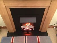 electric fire with beech surround