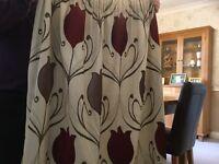 "Denelm Lalique wine curtains 66""x 90"" as new"