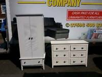 Double door white wood robe and 6 drawer chest