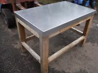 Original butchers block table with stainless steel cover 120cm x 76cm 2 available