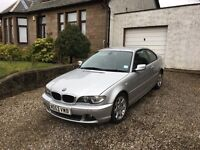 For Sale.BMW 318ci.12 months MOT.Silver with black leather interior.106,000 miles. £1500