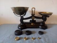 Vintage Librasco Black Cast Iron Kitchen Weighing Scales & Brass Weights