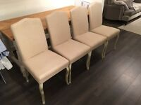 John Lewis cream fabric chairs with white wooden legs x 4