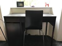 IKEA Micke Series Desk and Chair (Black, Great condition)