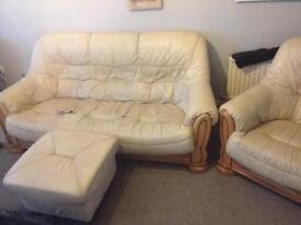 Cream Leather Sofa Armchair & Footrest