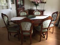 Italian Inlaid Design Table & 6 Chairs