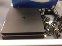Black Playstation 4 PS4 500GB Slim with controller and cables