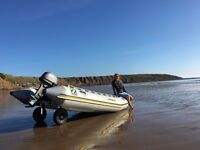 Zodiac Futura Fastroller 4.1Meter MK2 with Mariner outboard SUPERB!!