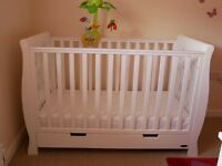 White Cot Bed in great condition w/ drawer and included Mattress (Free Cot Musical Toy as shown)
