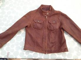 Girls brown real leather jacket Age 5/6