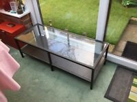 Ikea coffee table, metal framed with glass top and magazine rack